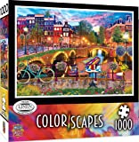 MasterPieces Puzzle Colorscapes Linen Jigsaw Puzzle, Amsterdam Lights In Holland, 1000 Pieces, Assorted