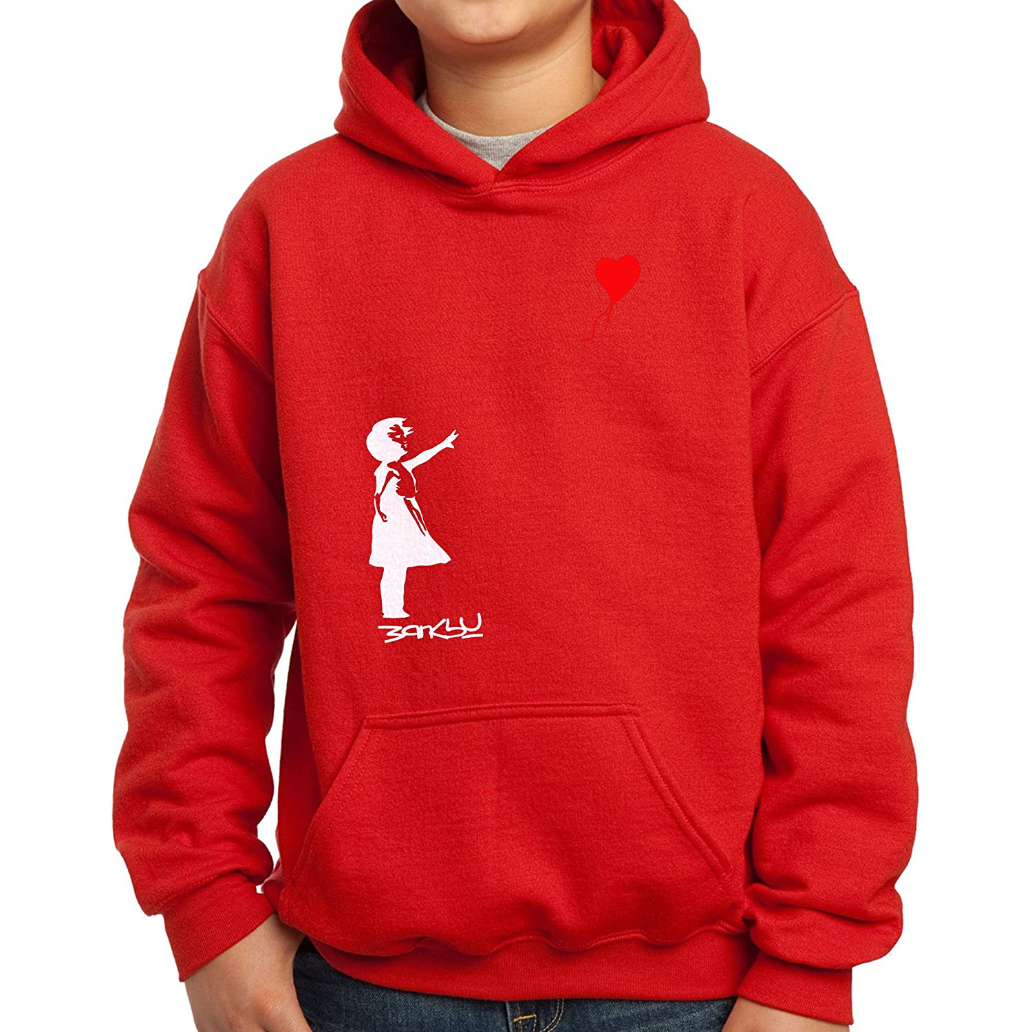 Nutees Banksy Girl Heart Shaped Balloon Funny Unisex Kids Hoodie Ages 3-15 Years
