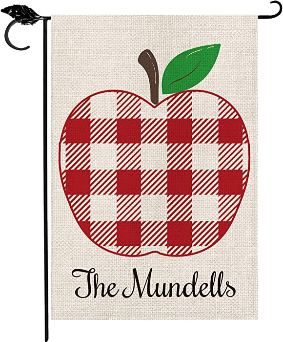 Smile Personalized Back to School Garden Flag, Summer Customized Family Last Name Apple Thanks Teacher, Double Sided 12 x 18 Inch Rustic Farmhouse Burlap Yard Outdoor Decoration