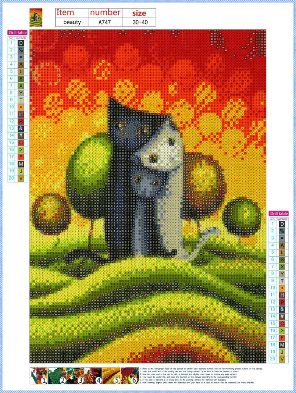 Diamond Painting 5D Full Drill Art Craft Cross Stitch Cat Kits Home Decor