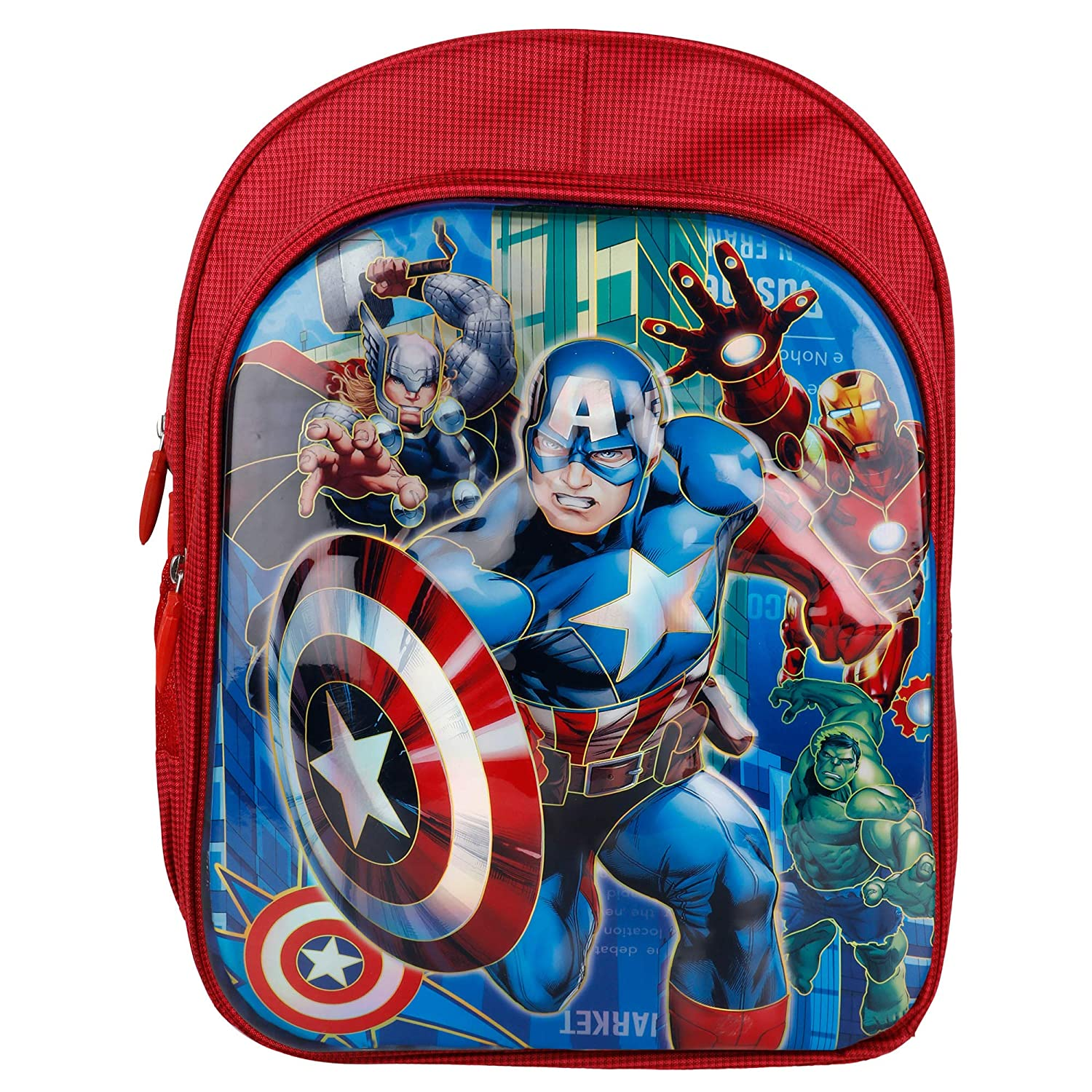 a6805f40 Kids Trends Tinystar Avengers Captain America Polyester 3D Character  Embossed 16 Inches Blue School Bag: Amazon.in: Bags, Wallets & Luggage