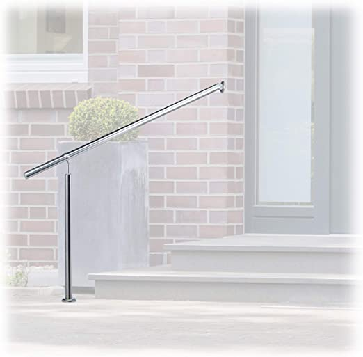 80 x 90 cm Happybuy Step Handrail Stainless Steel Stair Railing for in-and Outdoor Use Metal Hand Rails for Steps Silver