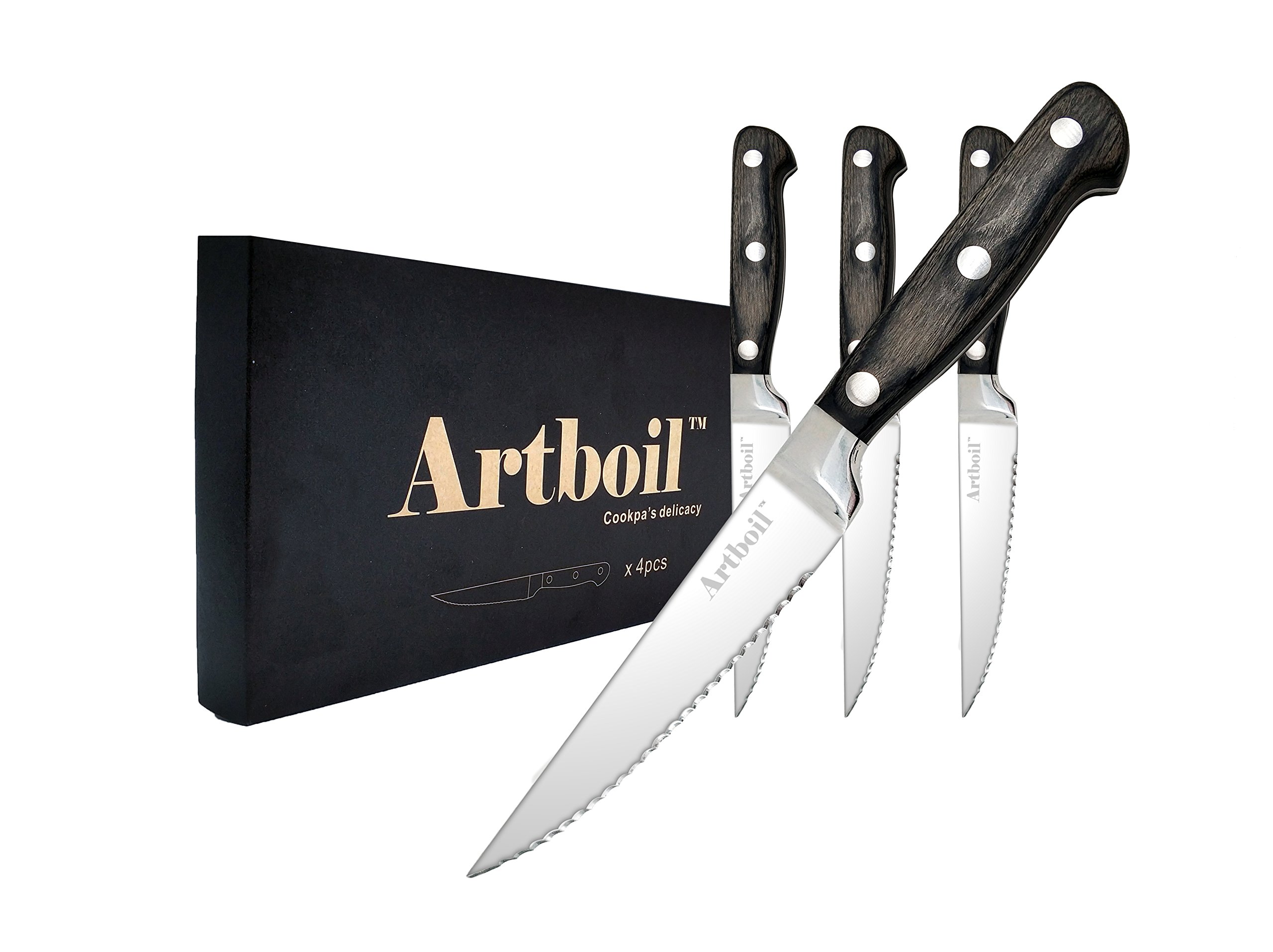 Artboil Steak Knives Set of 4 - Premium Clean Cut Serrated Steak Knife Stainless Steel - Pakka Wood Full Tang Handle by Artboil