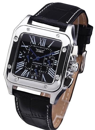 JARAGAR plaza romana 3 Dial Semana Calendario de cuero automática mecánica reloj de pulsera para hombre