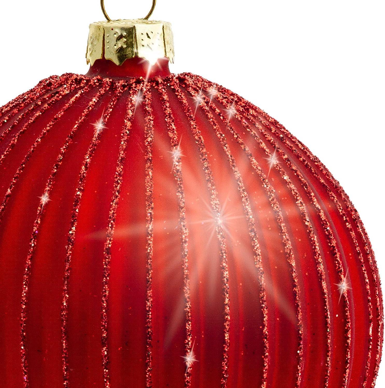 Gr/ö/ße:8 cm Farbe//Modell:Modell Helsinki rot Sikora Highlights 4er Set ausgefallene Christbaumkugeln aus Glas Rot