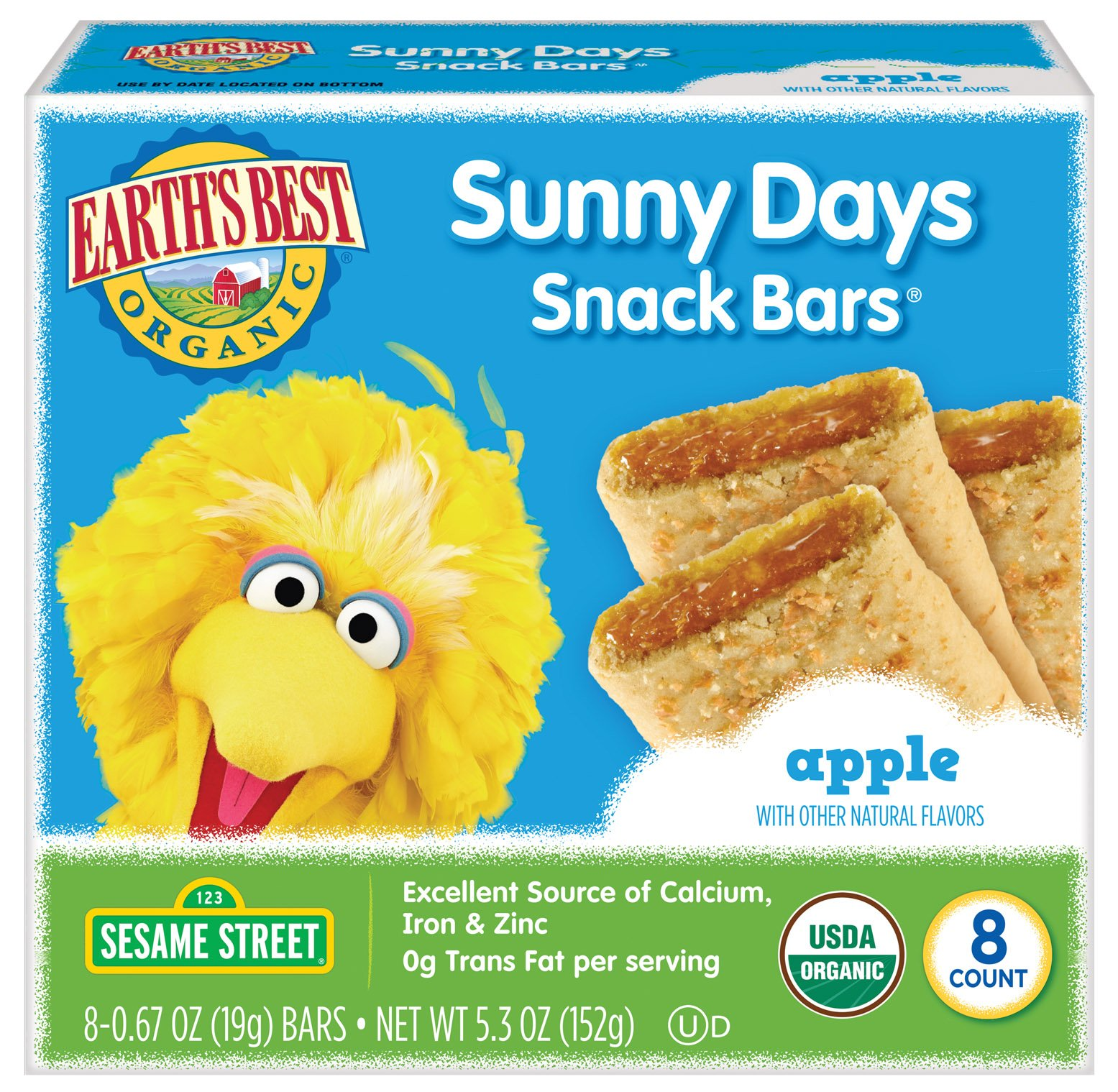 Earth's Best Organic Sunny Day Toddler Snack Bars with Cereal Crust, Made With Real Apples - 8 Count (Pack of 6)