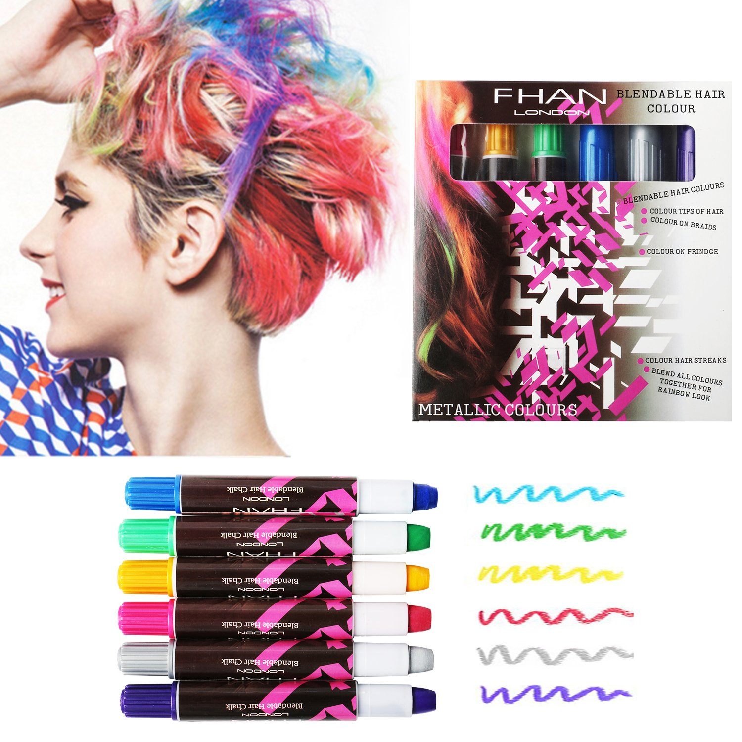 AMILE Hair Chalks, Temporary and Non-Toxic Edge Chalkers Storage in Sealant Use for Hair Color