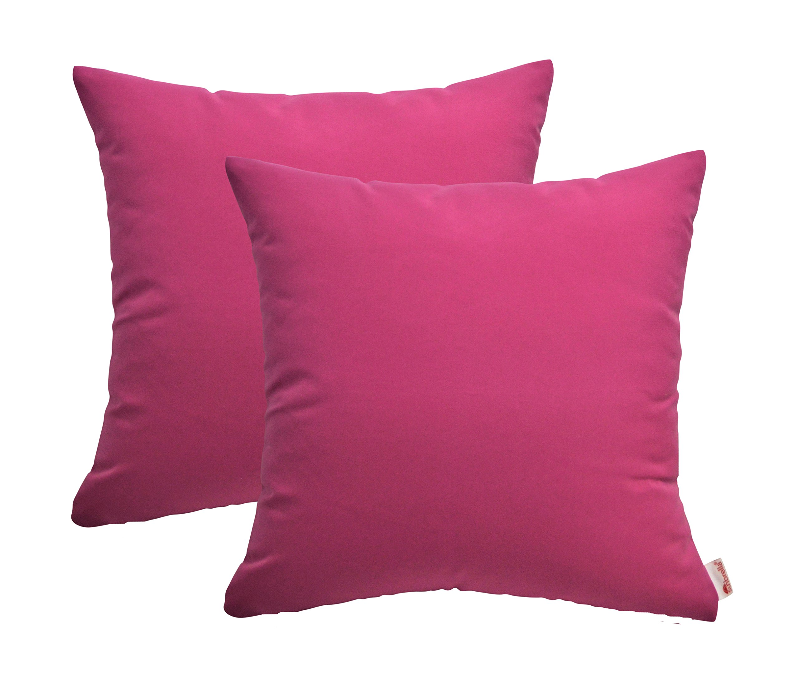 RSH Décor Set of 2 Indoor Outdoor Decorative Throw Pillows Sunbrella Canvas Hot Pink - Choose Size (17'' x 17'')