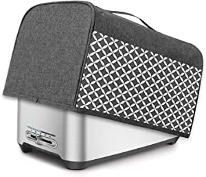 Yarwo 4 Slice Toaster Cover with Pockets and Top Handle, Nylon Toaster Cover Fits for Most 4 Slice Long Slot Toasters, Gray with Grid