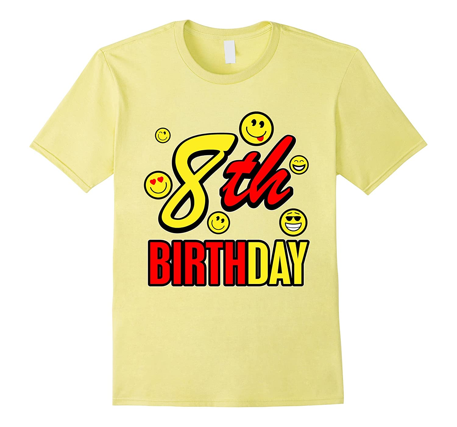 8 Year Old Birthday With Emojis T Shirt