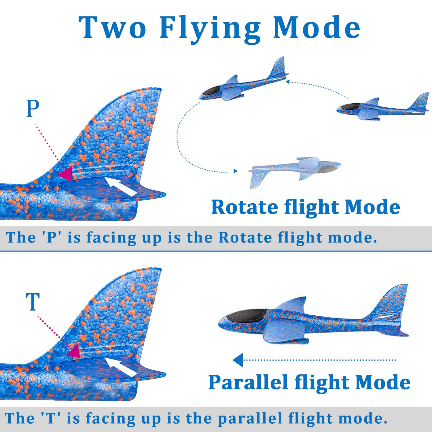 12.5'' Glider Planes,Throwing Foam Airplane ,Dual Flight Mode,Flying Aircraft, Airplane Toy for Kids 3 4 5 6 7 Years Old,Outdoor Sport Game Toys, Boys Girls Flying Party Favors Birthday Gifts by Jupitaz (Image #3)