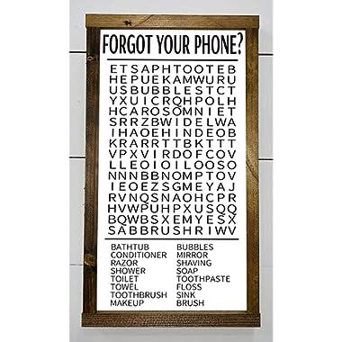 FORGOT YOUR PHONE? | BATHROOM SIGN | BATHROOM CROSSWORD | FUNNY BATHROOM SIGN | FARMHOUSE BATHROOM SIGN