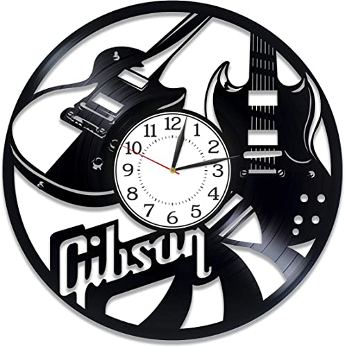 Kovides Gibson Handmade Clock Music Wall Clock 12 Inch Gibson Guitar Birthday Gift Idea for Man and Woman Music Original Home Decor Gibson Guitar Vinyl Record Wall Clock for Musician