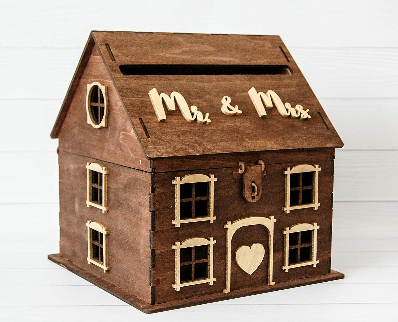 Amazon Com Wooden House Card Box For Wedding Rustic Wedding