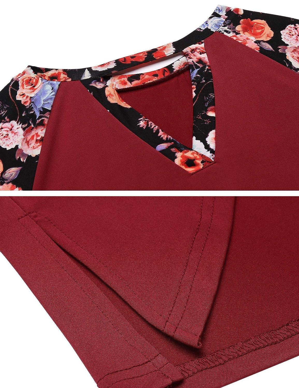 Hersife Womens Long Sleeve High Low Hem Shirt Patchwork Floral T-Shirt Tunic Tops