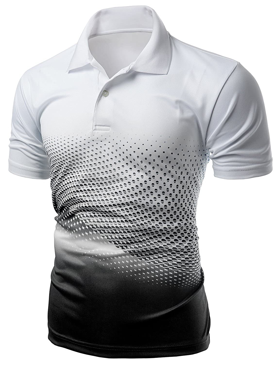 Amazon.com: Xpril Men's Cool Max Fabric Sporty Design Printed Polo ...