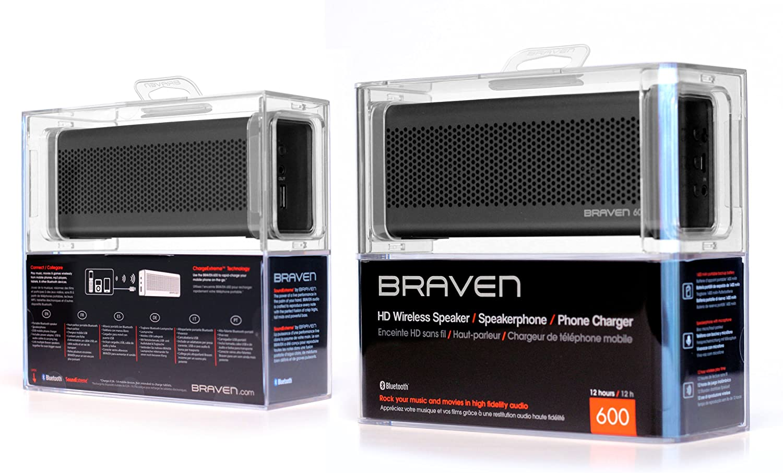 Grey Retail Packaging Braven BZ600GBA 600 Wireless Bluetooth Speaker//PowerBank
