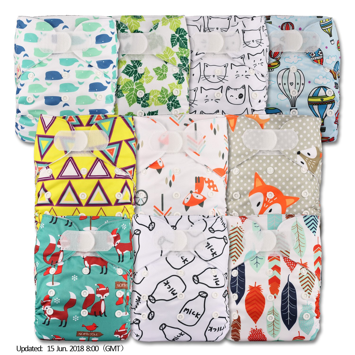 Littles & Bloomz, Reusable Pocket Cloth Nappy, Fastener: Hook-Loop, Set of 10, Patterns 1003, Without Insert
