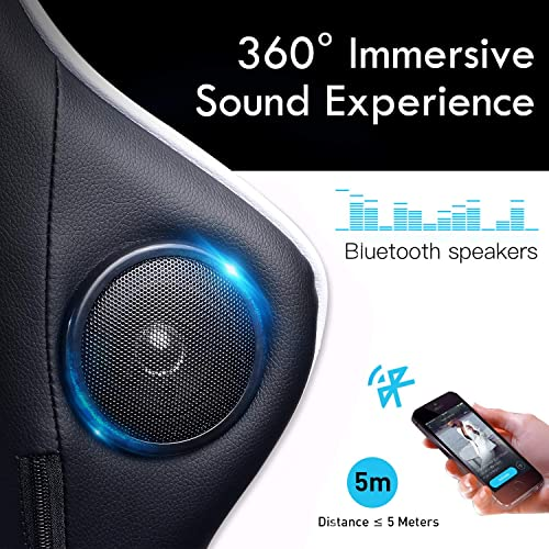 GTRACING Gaming Chair with Speakers Massage Wireless Bluetooth Audio Chair for Pro Gamers Fabulous Game Experience Music Play Home Theater Desk Chair White