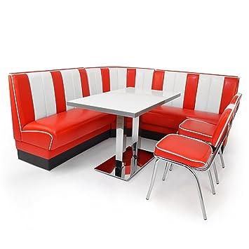 American Diner Set XXL: 2x Dinerbank 120cm + Eckbank + Diner Tisch + 2x  Retro