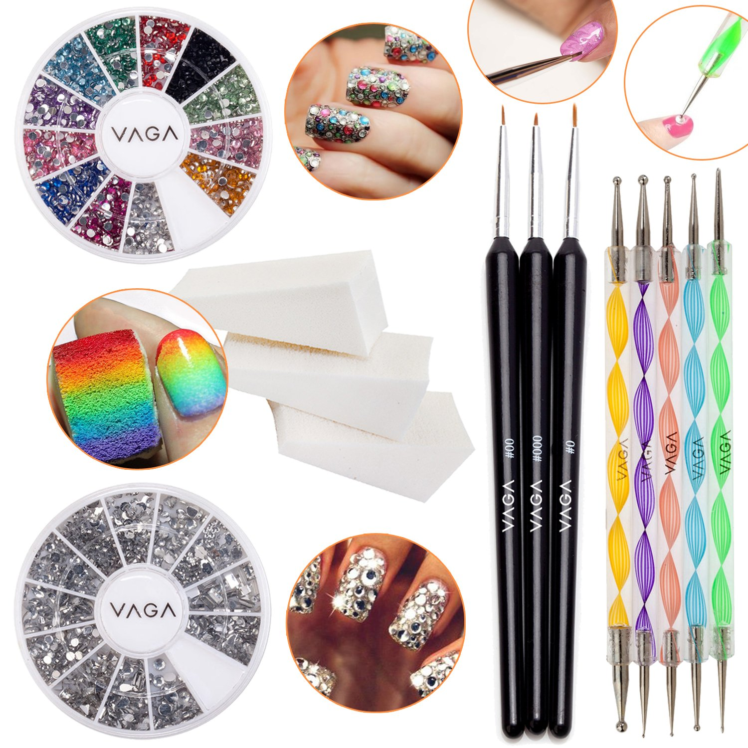 Nail Art Set With 3pcs Manicure Gradient Designs Stamping Wedges, 2 Wheels With Silver And Colourful Rhinestones / Crystals, 3 Detail Brushes And 5 Nailart Dotting Tools / Dotters By VAGA