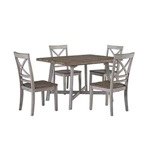 distressed wood dining table brown standard furniture fairhaven dining table and four chairs set distressed reclaimed oak plank top wood tables amazoncom