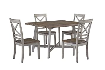 Pleasing Standard Furniture Fairhaven Dining Table And Four Chairs Set Distressed Reclaimed Oak Plank Top Grey Base Gmtry Best Dining Table And Chair Ideas Images Gmtryco