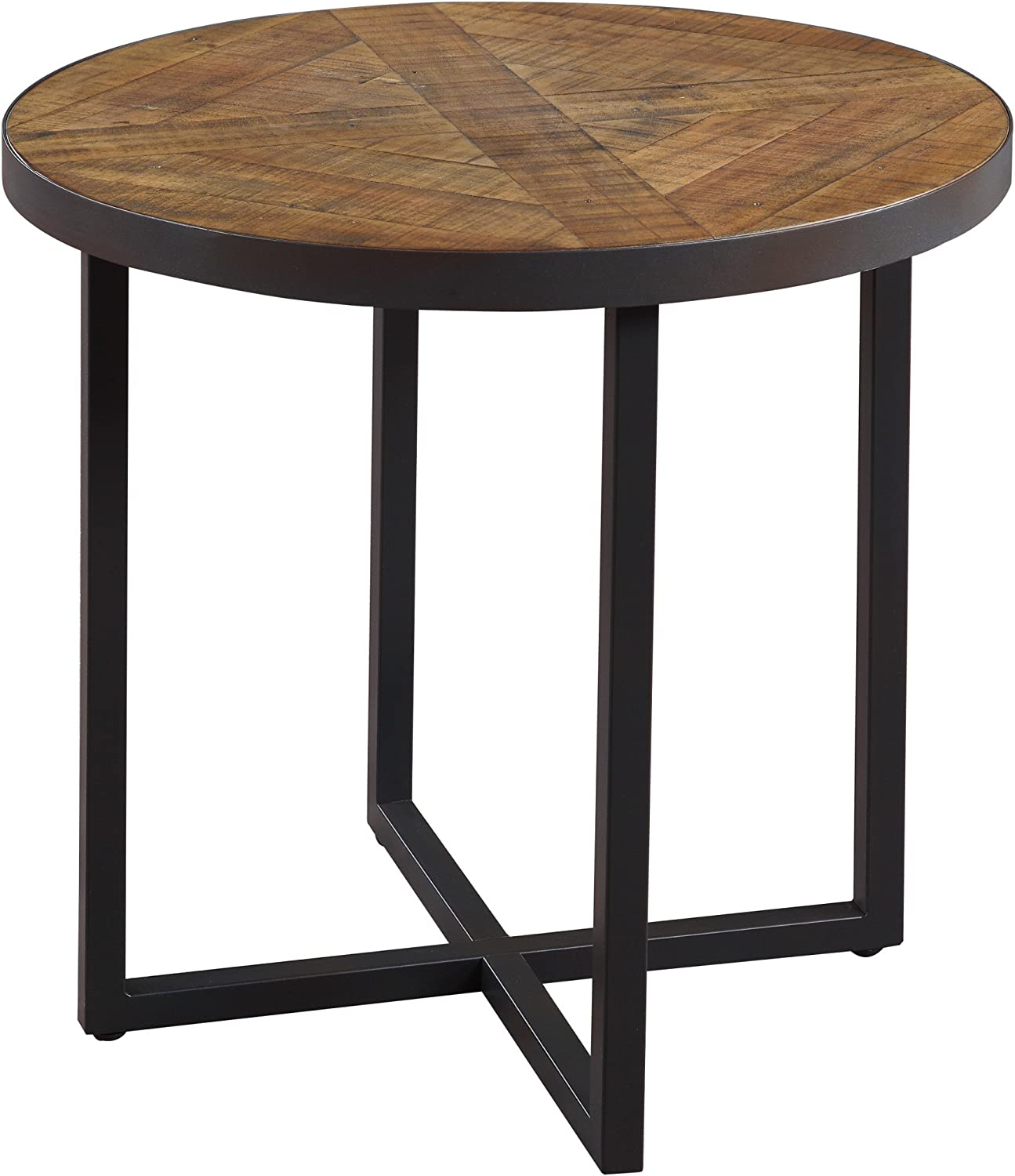 Emerald Home Denton Antique Pine End Table with Round, Pieced Top And Metal Base