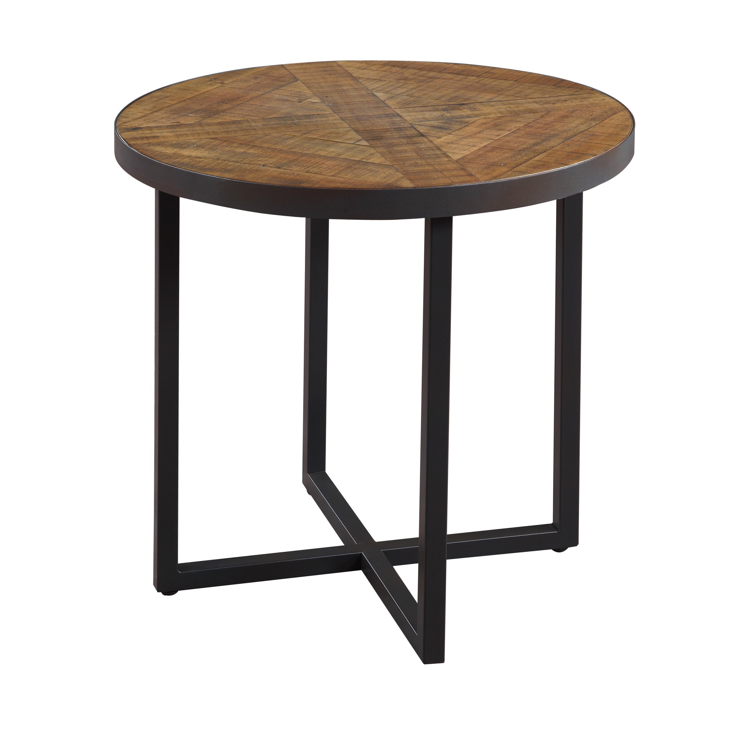 Emerald Home Denton Antique Pine End Table with Round, Pieced Top And Metal Base by Emerald Home Furnishings