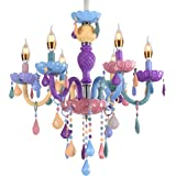 Colorful Chandelier Crystal 6 Lights Pendant Ceiling Lighting Fixture for Girl,Daughter,Children's Room,Dinning Room…