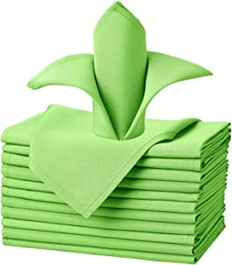 VEEYOO Cloth Napkins - Set of 12 Pieces 20 x 20 Inch Solid Polyester Table Napkins - Soft Washable and Reusable Dinner Napkin for Weddings, Parties, Restaurant (Apple Green Napkins Cloth)