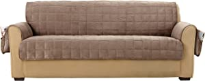 SURE FIT Deep Pile Velvet Sofa Furniture Cover - Sable