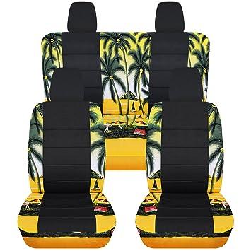Amazon.com: 2011 2018 Jeep Wrangler JK Hawaiian U0026 Black Seat Covers: Yellow  W Palm Tree   Full Set: Front U0026 Rear (4 Prints) 2012 2013 2014 2015 2016  2017 ...