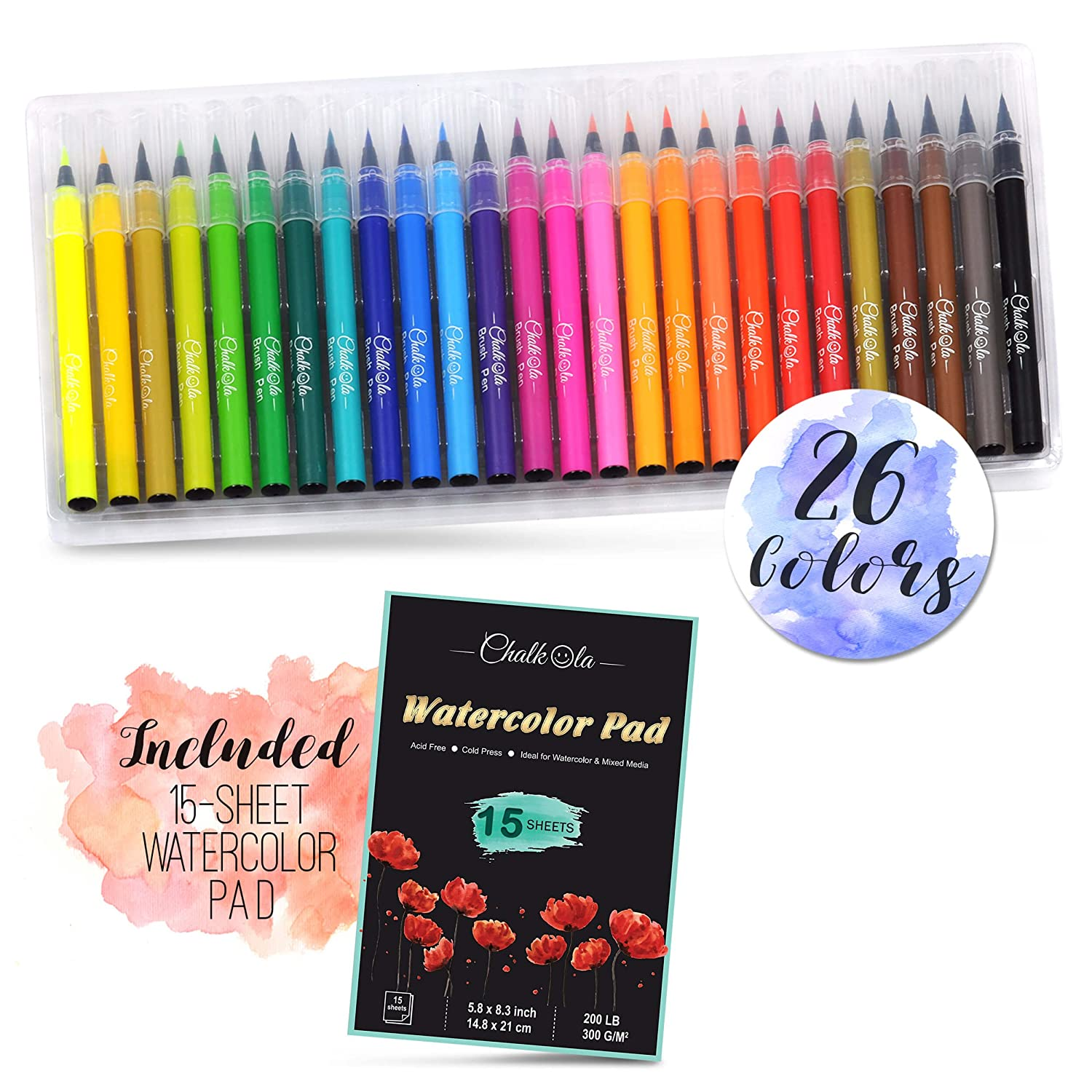 Watercolor Brush Pens | Set of 26 with 15-Sheet Paper Painting Pad | Water Color Paint Markers with Real Flexible Soft Nibs | 100% Non-Toxic | Premium Paint Pens for Kids and Adults by Chalkola 4336949597