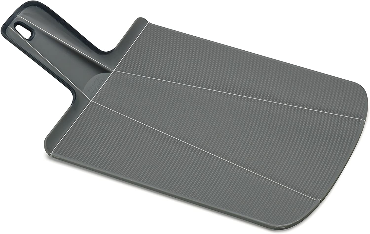 Joseph Joseph 60100 Chop2Pot Foldable Plastic Cutting Board 15-inch x 8.75-inch Chopping Board Kitchen Prep Mat with Non-Slip Feet 4-inch Handle Dishwasher Safe, Small, Gray