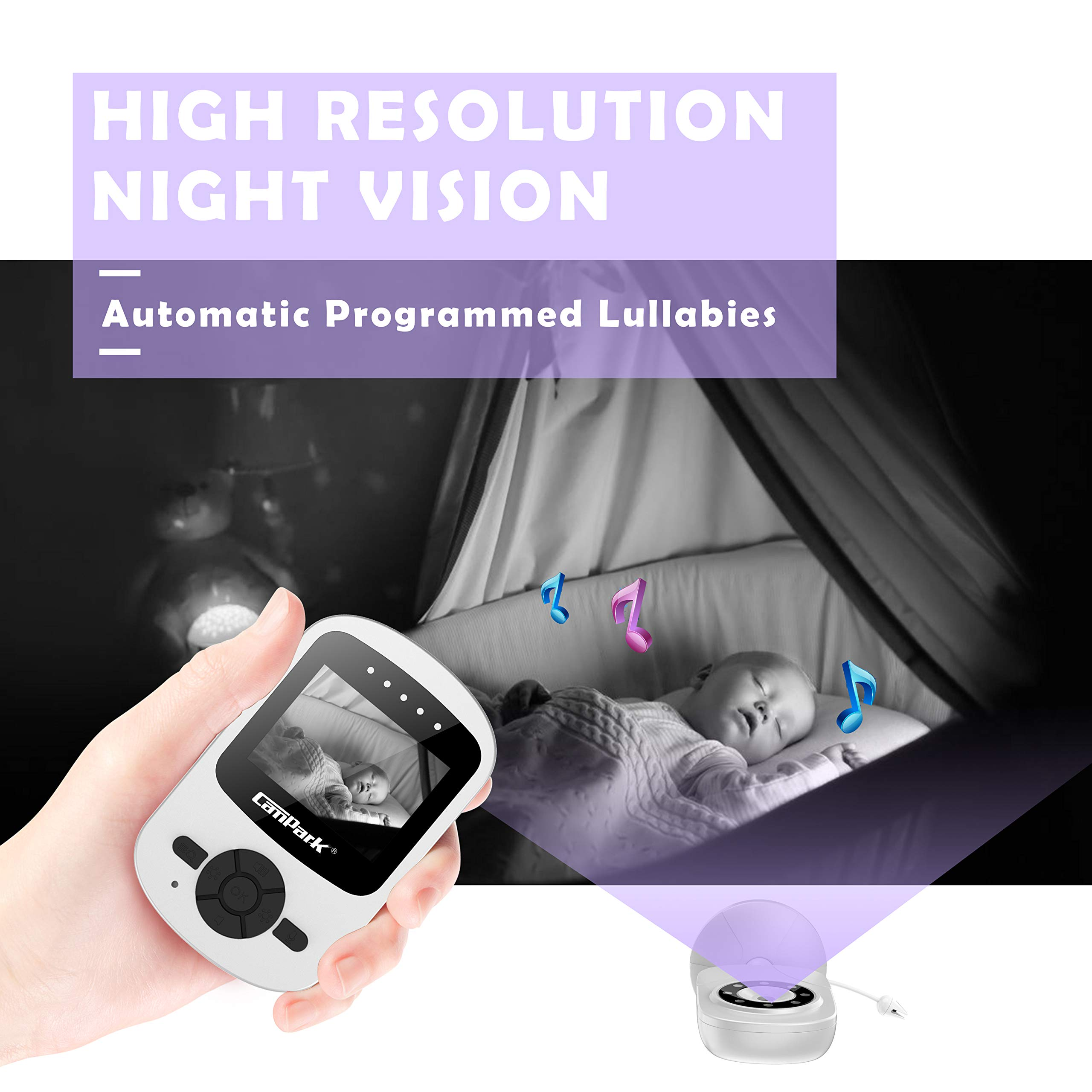【2019 New Version】Campark Video Baby Monitor with Camera Infant Digital Cam Optics with Infrared Night Vision 2.4'' LCD 2.4GHz Wireless Transmission Two Way Talk Temperature Sensor VOX 4 in 1 Connect by Campark (Image #7)