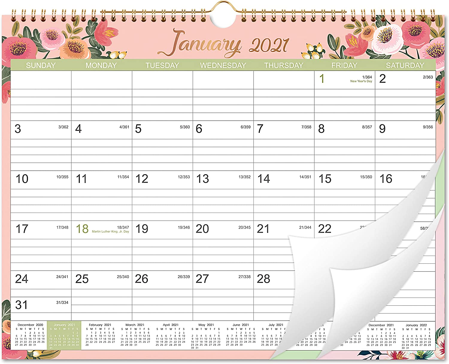 """2021 Calendar - 12 Monthly Wall Calendar with Thick Paper, 15"""" x 11.5"""", Jan. 2021 - Dec. 2021, Twin-Wire Binding + Hanging Hook + Large Ruled Blocks with Julian Dates - Floral"""