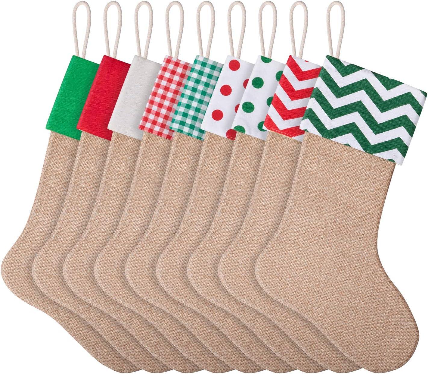 - Amazon.com: Favide 9 Pieces Christmas Burlap Stockings Xmas