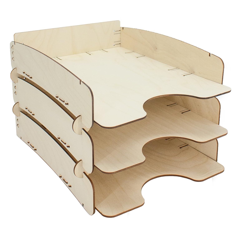 myORGA no.2 Ablage aus Holz stapelbar - 3er Set - MADE IN GERMANY - Briefablage - Ablagefach - Ablagekorb - Format (bxtxh): 25, 3 x 35, 0 x 7, 0 cm
