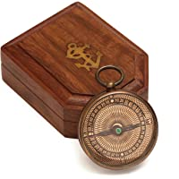 ShalinIndia Pocket Brass Compass With Ornamental Face - Working Mechanism - Antique Inspired Design