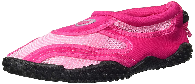 Amazon.com  Easy USA Women s Wave Water Shoes Pool Beach Aqua Socks -  Fuchsia Pink Black w Black Emblem- 9  Baby aa0b82476d