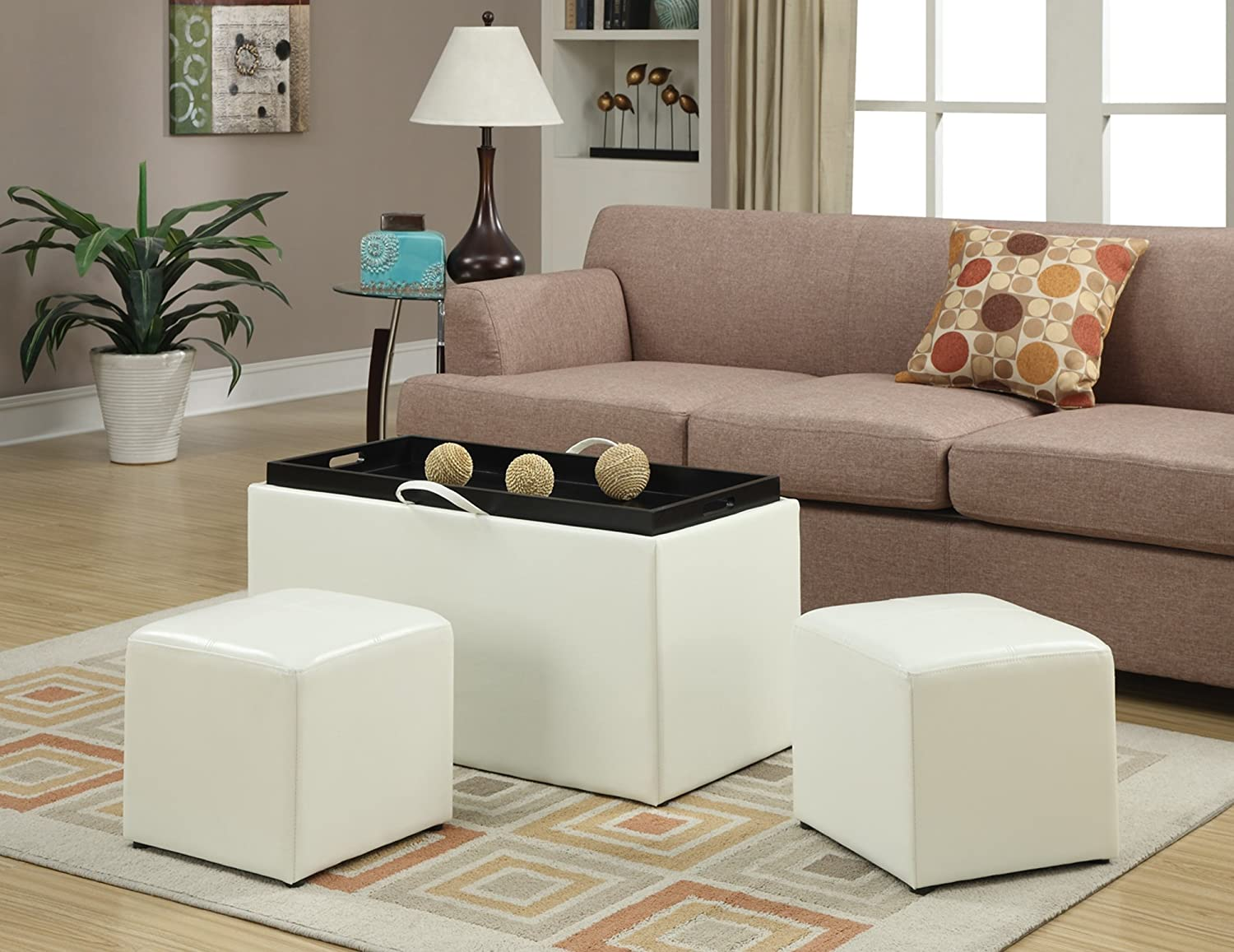 Amazon.com: Convenience Concepts Designs4Comfort Sheridan Faux Leather  Storage Bench With 2 Side Ottomans, White: Kitchen U0026 Dining