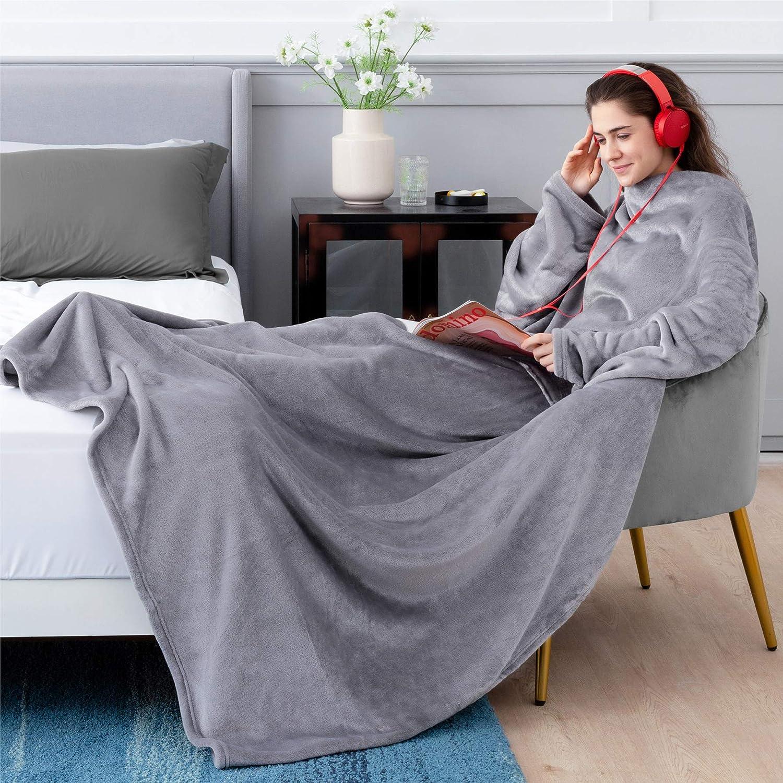 Bedsure Batamanta Polar Mujer Sofa - Manta con Mangas y Bolsillo Hombre para Pies de TV,Blanket Hoodie Suave y Acogedor,Gris,170x200cm
