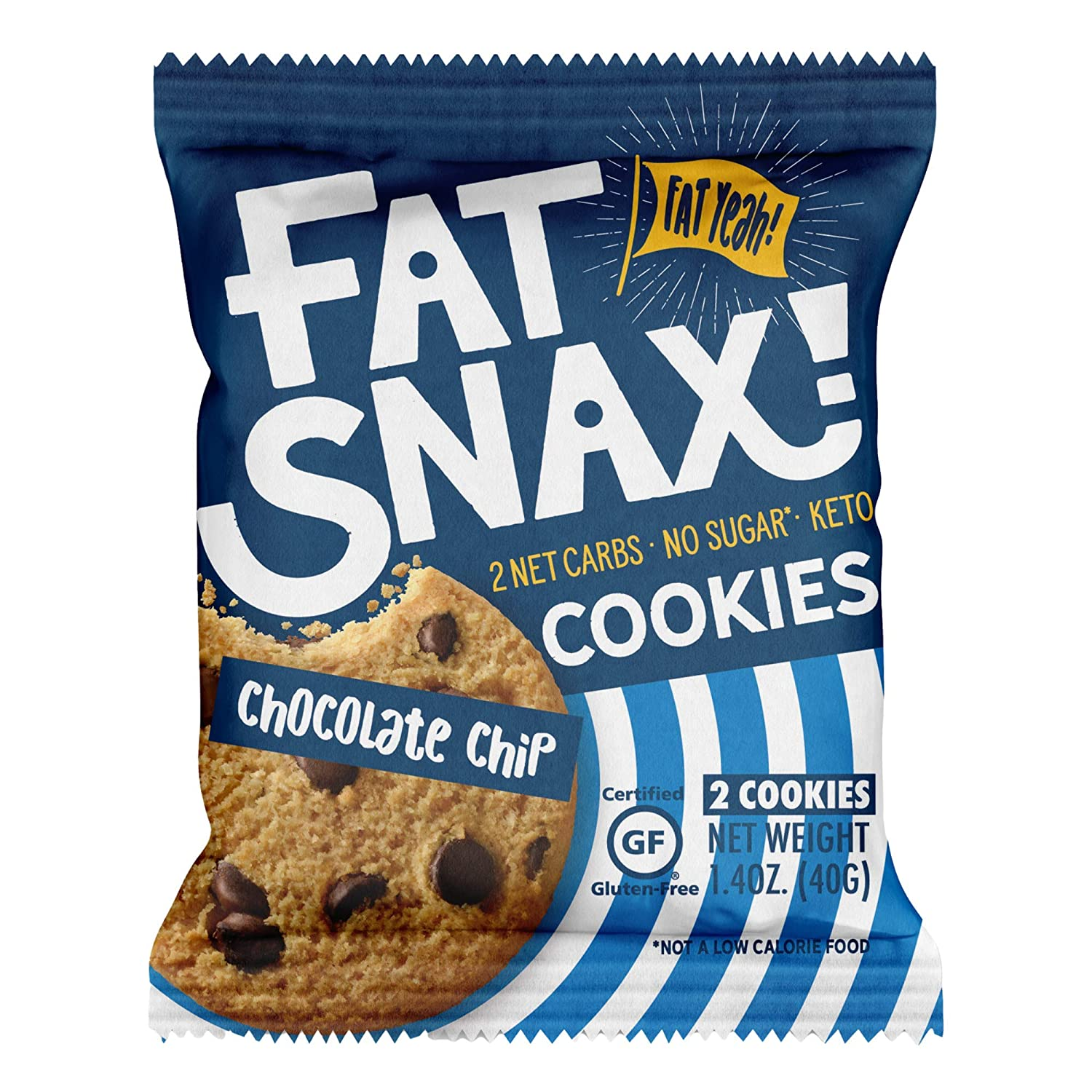 Fat Snax Keto Cookies - Low Carb, Keto, and Sugar-Free (Chocolate Chip, 12-pack (24 cookies)) - Keto-Friendly & Gluten-Free Snack Foods