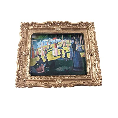 Melody Jane Dollhouse Gold Framed A Sunday on La Grande Jatte Picture Painting Accessory: Toys & Games