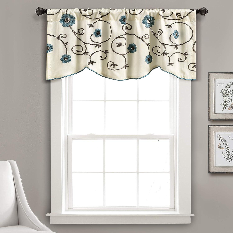 Amazon Com Lush Decor Royal Garden Floral Window Kitchen Curtain Valance 18 X 42 Blue Home Kitchen