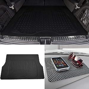 TLH Premium Trimmable Cargo Mat Car Trunk Liner Universal Fit Black Color w/Black Dash Pad