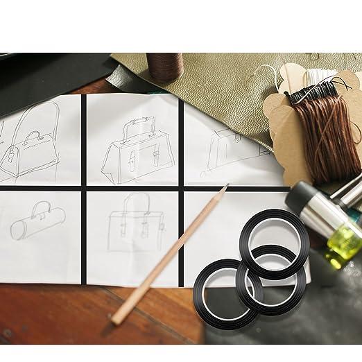 IBEET 7 Packs Cinta Gráfica Gráfica Adhesiva para Uso Doméstico Negro Cinta Adhesiva Cinta Goma con Bono Extra Tijera: Amazon.es: Hogar