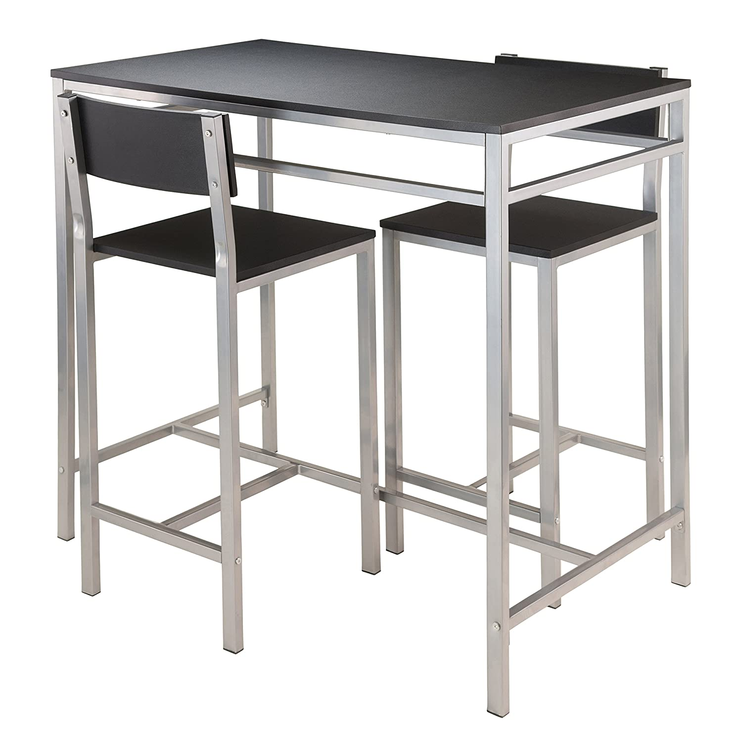 Amazon.com: Winsome Hanley 3 Piece High Table With 2 High Back Stools,  Black: Kitchen U0026 Dining
