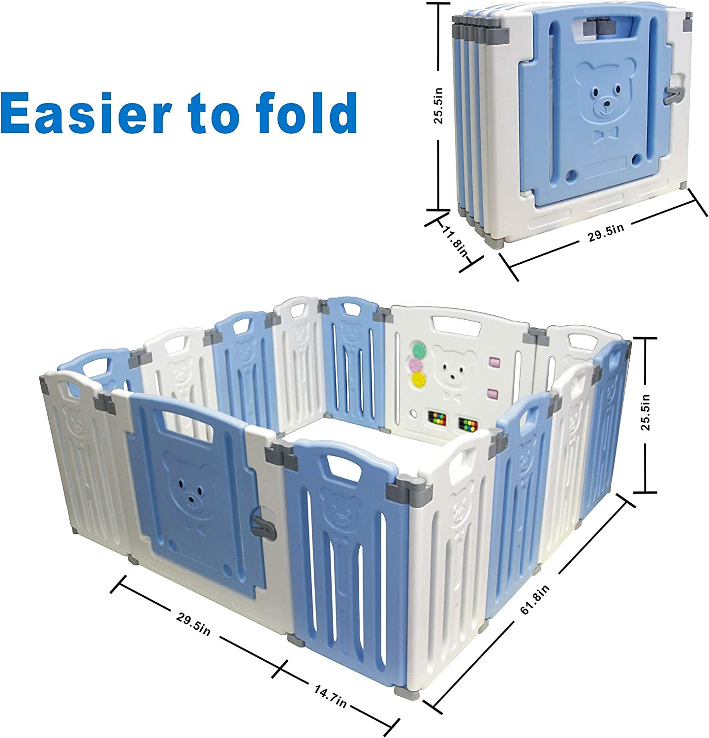Baby Playpen Kids Activity Centre Safety Play Yard Home Indoor Outdoor New Pen Folding 12+2panels 155/×155/×65CM Blue